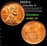 1955-s Lincoln Cent 1c Grades GEM Unc RD