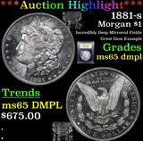 ***Auction Highlight*** 1881-s Morgan Dollar $1 Graded GEM Unc DMPL By USCG (fc)