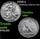 1936-s Walking Liberty Half Dollar 50c Grades xf+