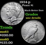 1934-p Peace Dollar $1 Grades Unc Details