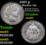 1907-p Barber Dime 10c Grades Select Unc