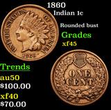 1860 Indian Cent 1c Grades xf+