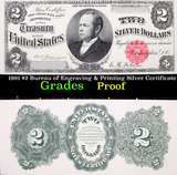 Proof 1891 $2 Bureau of Engraving & Printing Silver Certificate Grades Proof