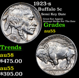 1923-s Buffalo Nickel 5c Grades Choice AU