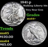 1941-p Walking Liberty Half Dollar 50c Grades Choice+ Unc
