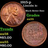 1915-p Lincoln Cent 1c Grades Choice AU