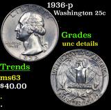 1936-p Washington Quarter 25c Grades Unc Details