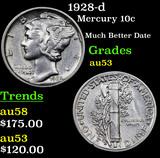1928-d Mercury Dime 10c Grades Select AU