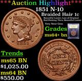 ***Auction Highlight*** 1851 N-10 Braided Hair Large Cent 1c Graded Choice+ Unc BN By USCG (fc)