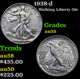 1938-d Walking Liberty Half Dollar 50c Grades Choice AU