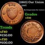 (1863) Our Union Civil War Token 1c Grades vf++