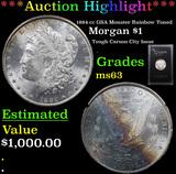 ***Auction Highlight*** 1884-cc GSA Monster Rainbow Toned  Morgan Dollar $1 Grades Select Unc (fc)
