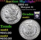 ***Auction Highlight*** 1891-cc Morgan Dollar $1 Graded Select Unc By USCG (fc)