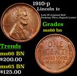 1910-p Lincoln Cent 1c Grades GEM+ Unc BN