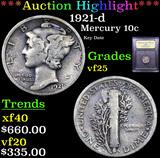 ***Auction Highlight*** 1921-d Mercury Dime 10c Graded vf+ By USCG (fc)