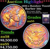 ***Auction Highlight*** 1896-o Rainbow Toned Barber Half Dollars 50c Graded Choice AU By USCG (fc)