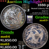 ***Auction Highlight*** 1886-p Seated Liberty Quarter 25c Graded Select+ Unc By USCG (fc)
