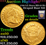 ***Auction Highlight*** 1799 LG Stars BD-10 R3 Draped Bust Gold Eagle 10 Graded AU Details By USCG (
