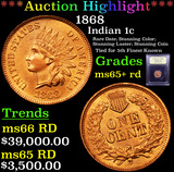 ***Auction Highlight*** 1868 Indian Cent 1c Graded Gem+ Unc RD By USCG (fc)
