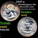1947-s Washington Quarter 25c Grades GEM Unc