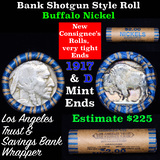 Buffalo Nickel Shotgun Roll in Old Bank Style 'Los Angeles Trust And Savins Bank'  Wrapper 1917 & d