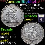 ***Auction Highlight*** 1875-cc BF-2 Twenty Cent Piece 20c Graded Select+ Unc By USCG (fc)
