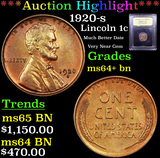 ***Auction Highlight*** 1920-s Lincoln Cent 1c Graded Choice+ Unc BN By USCG (fc)