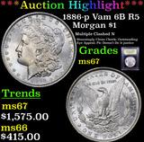 ***Auction Highlight*** 1886-p Vam 6B R5 Morgan Dollar $1 Graded GEM++ Unc By USCG (fc)
