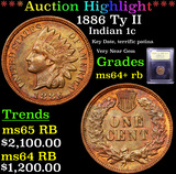 ***Auction Highlight*** 1886 Ty II Indian Cent 1c Graded Choice+ Unc RB By USCG (fc)