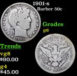 1901-s Barber Half Dollars 50c Grades g+