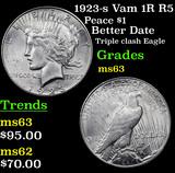1923-s Vam 1R R5 Peace Dollar $1 Grades Select Unc