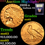 ***Auction Highlight*** 1909-s Gold Indian Half Eagle $5 Graded BU+ By USCG (fc)