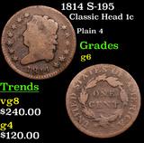 1814 S-195 Classic Head Large Cent 1c Grades g+