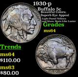 1930-p Buffalo Nickel 5c Grades Choice Unc