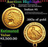***Auction Highlight*** Numismatic Exunomia $5 Gold Indian with 14k Gold Bezel Gold Indian Half Eagl