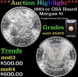 ***Auction Highlight*** ANACS 1883-cc GSA Hoard Morgan Dollar $1 Graded ms63 By ANACS (fc)