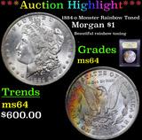 ***Auction Highlight*** 1884-o Monster Rainbow Toned Morgan Dollar $1 Graded Choice Unc By USCG (fc)
