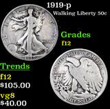 1919-p Walking Liberty Half Dollar 50c Grades f, fine