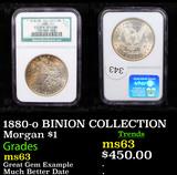 NGC 1880-o BINION COLLECTION Morgan Dollar $1 Graded ms63 By NGC