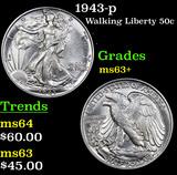 1943-p Walking Liberty Half Dollar 50c Grades Select+ Unc