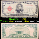 **Star Note** 1928F $5 Red Seal United States Note Fr-1531Wi Wide I Star Grades vf+