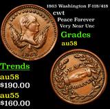 1863 Washington F-118/418 Civil War Token 1c Grades Choice AU/BU Slider