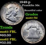 1949-p Franklin Half Dollar 50c Grades Select Unc FBL