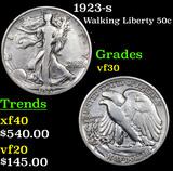 1923-s Walking Liberty Half Dollar 50c Grades vf++