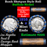Buffalo Nickel Shotgun Roll in Old Bank Style 'Los Angeles Trust And Savins Bank'  Wrapper 1916 & s