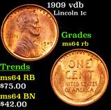 1909 vdb Lincoln Cent 1c Grades Choice Unc RB