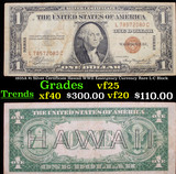 1935A $1 Silver Certificate Hawaii WWII Emergency Currency Rare L-C Block Grades vf+