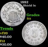 1882 Shield Nickel 5c Grades f+
