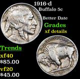 1916-d Buffalo Nickel 5c Grades xf details