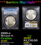 ***Auction Highlight*** PCGS 1900-o Morgan Dollar $1 Graded ms66 By PCGS (fc)